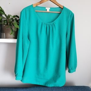 J. Crew Green Gingham Testured Popover Blouse L